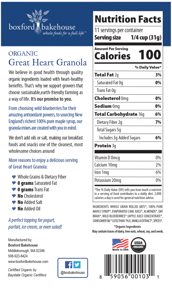 Blueberry Almond Nutritional Facts
